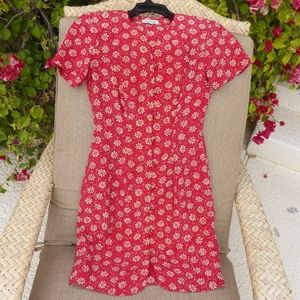 Annr Taylor Red dress with tan floral medallions